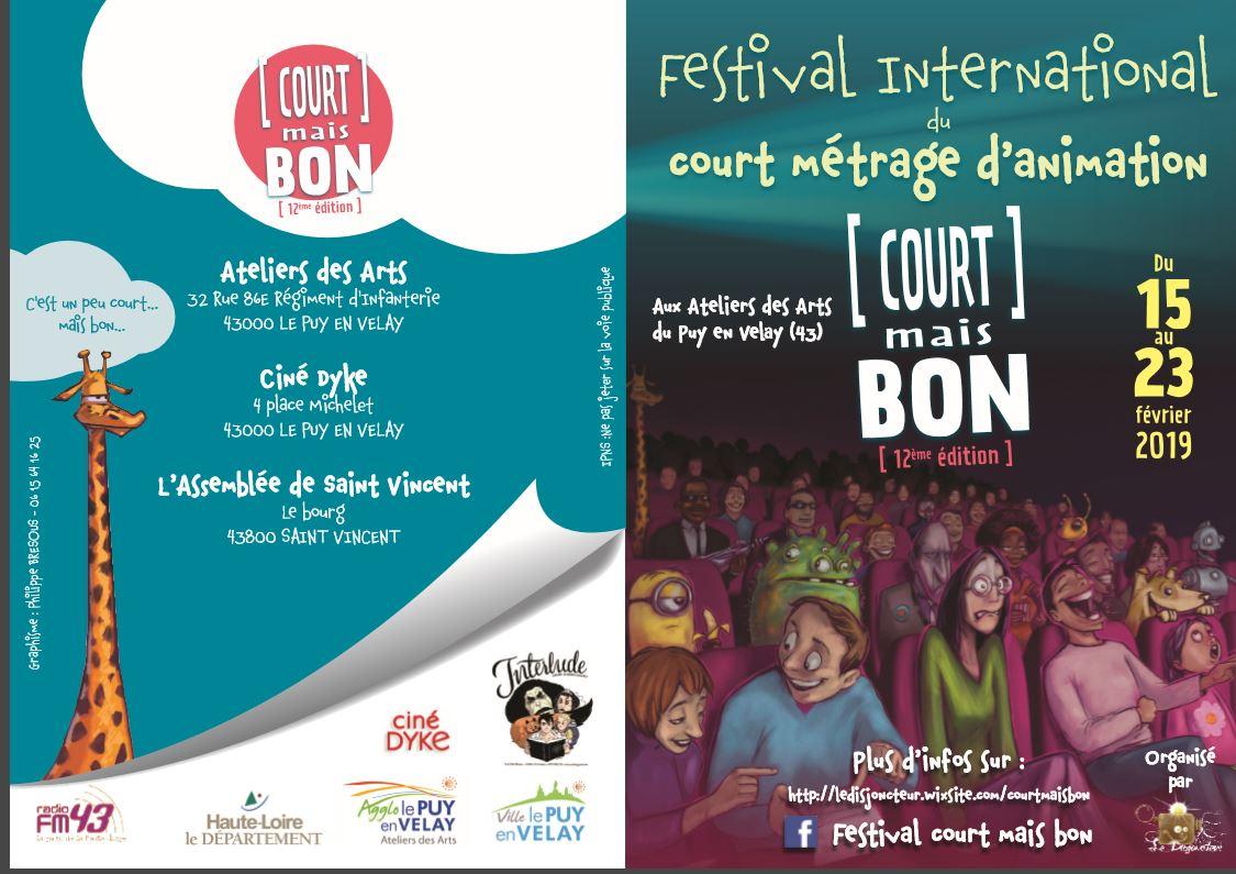 Court mais Bon : 12° édition du Festival international du court métrage d'animation du 15 au 23 février