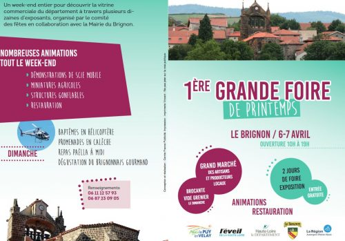 1ére Grande foire-exposition de printemps au Brignon, les 6 et 7 avril prochains